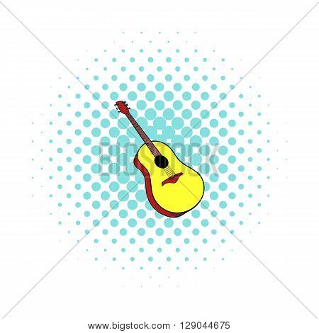 Wooden acoustic guitar icon in comics style on a white background