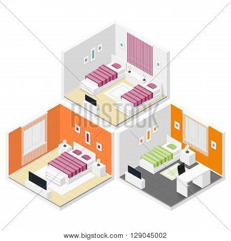 Bedrooms isometric icon set vector graphic illustration
