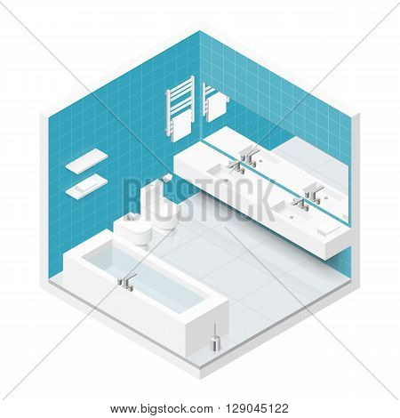 Bathroom with toilet isometric icon set vector graphic illustration