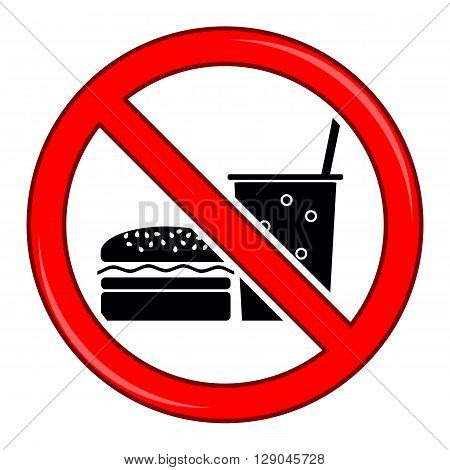 No Food Allowed Symbol. Prohibition Sign Isolated on White Background. No Food or Drink Area Sign.
