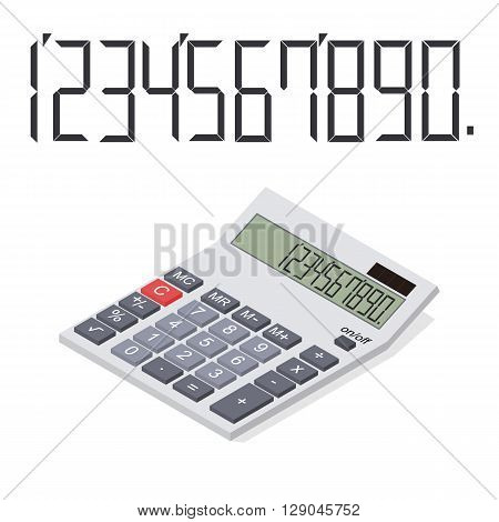 Calculator in perspective. Flat isometric. Icon of calculator. The number on the display. Mathematical calculations. Vector illustration.
