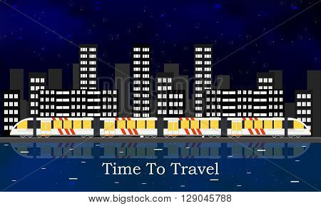 Speedy intercity train. The city's skyline. A passenger Train into a flat style. Night starry sky. The reflection in the river. Vertical panorama. Railroad Vector illustration template design.