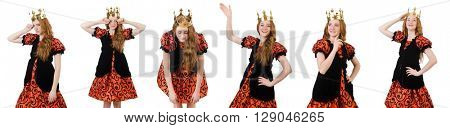 Funny woman queen wearing crown on white