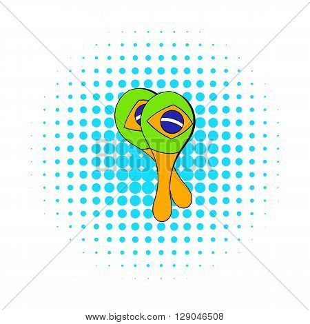 Maracas musical instrument icon in comics style isolated on white background