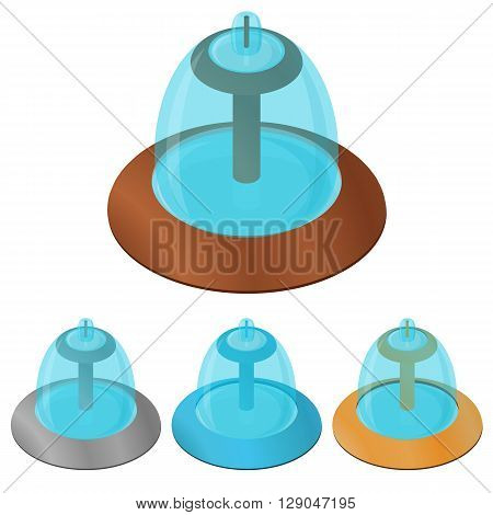 Fountain. Flat isometric. The spray of water. A place for rest and relaxation. The city fountain. The decoration of the Park. Vector illustration.