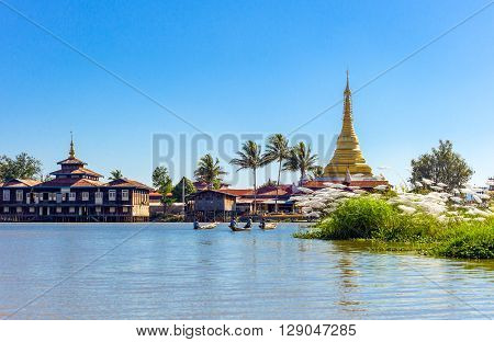 Myanmar Shan State a pagoda on the Inla Lake.