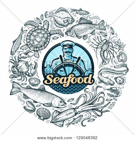 hand drawn seafood or food. vector illustration