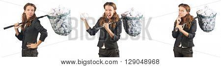 Woman with catching net and papers