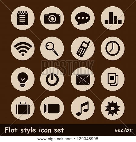 Universal, web or mobile flat Icons on brown background.