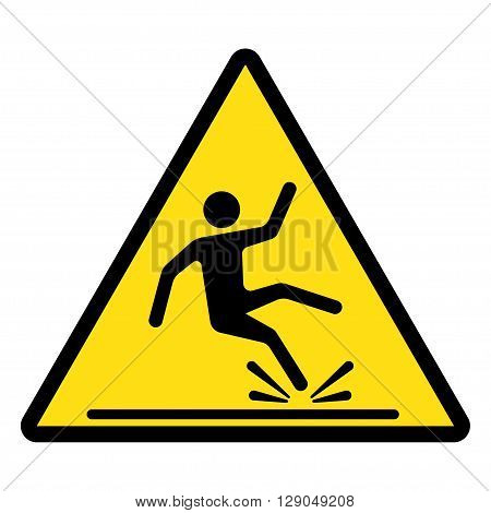 Wet Floor sign yellow triangle with falling man in modern rounded style. Isolated vector illustration.