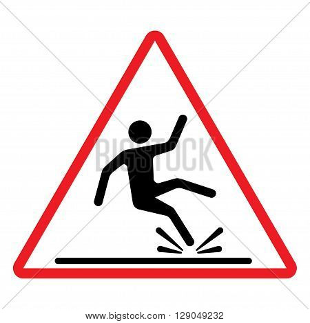 Wet Floor sign warning sign with falling man in modern rounded style. Isolated vector illustration.