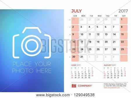 Desk Calendar Template For 2017 Year. July. Design Template With Place For Photo. 3 Months On Page.