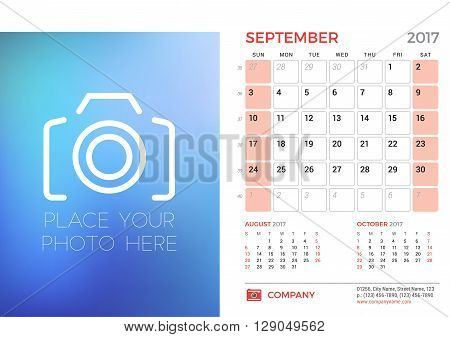 Desk Calendar Template For 2017 Year. September. Design Template With Place For Photo. 3 Months On P