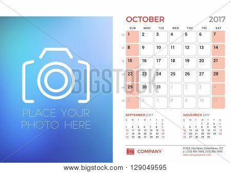Desk Calendar Template For 2017 Year. October. Design Template With Place For Photo. 3 Months On Pag