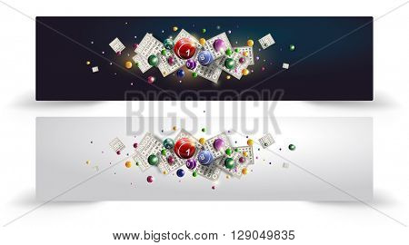 Vector illustration of flying Bingo or lottery balls and cards. Site banner or head. Bingo or lottery design with copy space for text. Bingo design in two various colors.