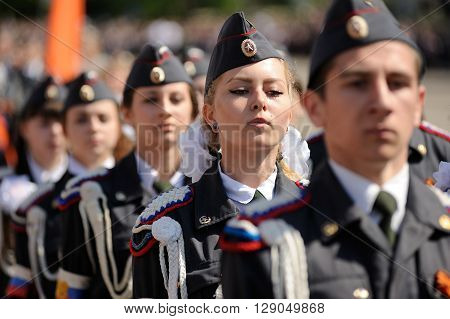 Orel Russia - May 9 2016: Celebration of 71th anniversary of the Victory Day (WWII). People in Russian military uniform marching closeup