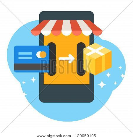 Online shopping concept. Purchasing concept. Mobile payment. Credit card with smartphone. Flat design vector illustration