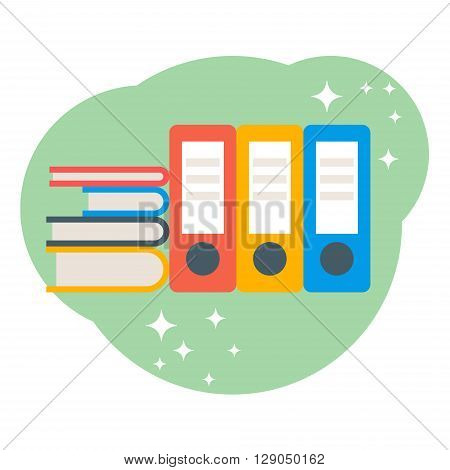 Data base concept. Folders with papers. Flat style vector illustration