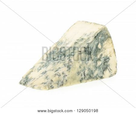 Blue cheese isolated on white. close up