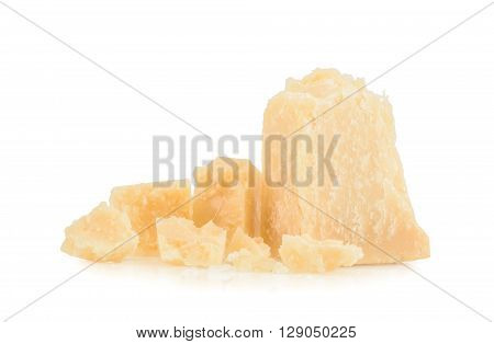 parmesan cheese isolated on white background. close up