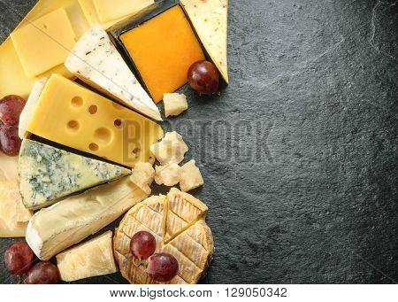 Various Types Of Cheese With Empty Space Background. All Images Of This Series See My Portfolio