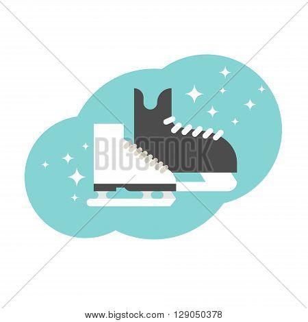 The skates icon. hockey and figure skates. Flat Vector illustration