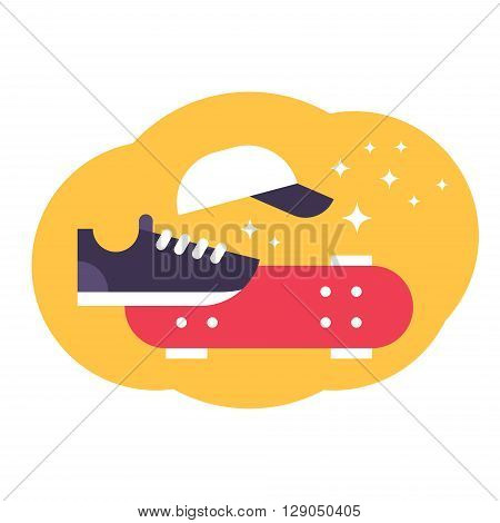 Vector illustration of skateboarding. Flat skateboard illustration. Sneakers cap skateboard
