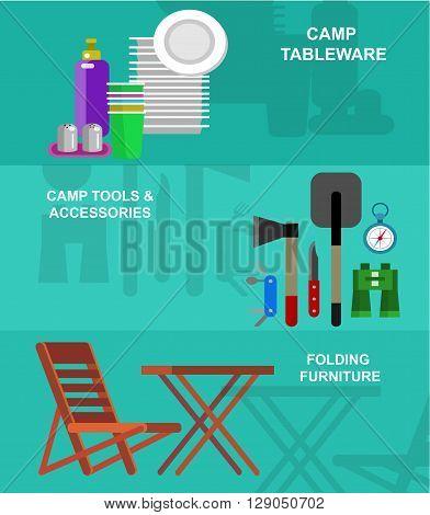 Vector  picnic icons, summer camp and picnic icons. Vector picnic party banner set, tableware picnic set, camping tool. Banner set