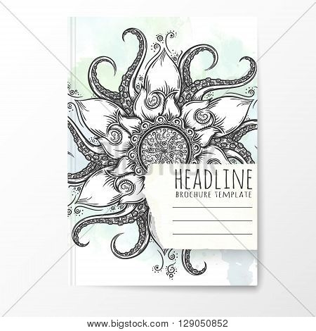 Notebook template with hand drawn octopus mandala. Vector editable notebook cover.