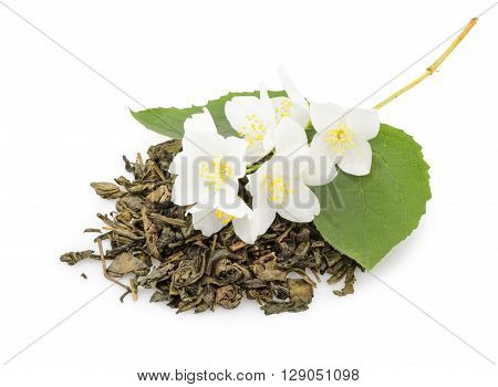 Jasmine Tea With Jasmine Flowers Isolated On White Background