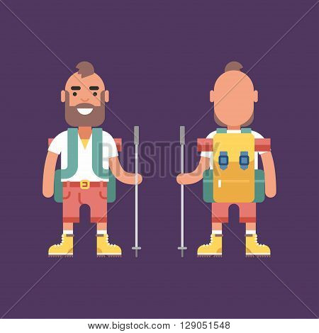 Hiking Concept. Smiling Young Man with Backpack and Stick for Hiking. Front and Back View. Flat Style Illustration