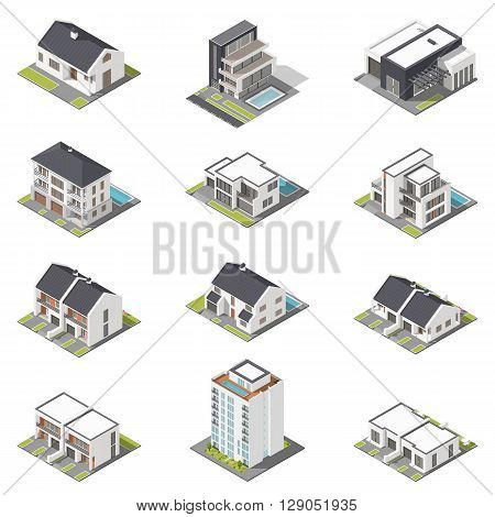 Different houses isometric icon set vector graphic illustration