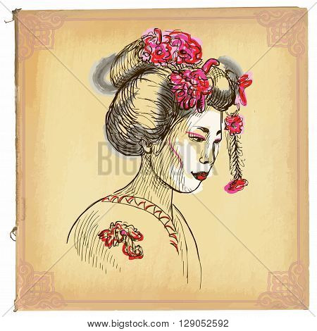 Geisha - An Hand Drawn Vector Sketch, Freehand, Colored Line Art