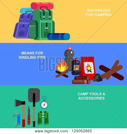 Camping banner. Camping Weekend icons. Hiking and camping object. Vector camping flat illustration.
