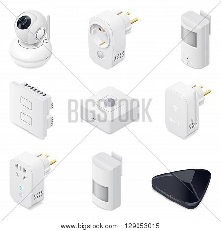 Smart home technology appliances icometric icon set vector graphic illustration