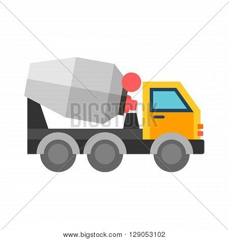 Concrete mixer truck. Flat vector illustration isolated on white background