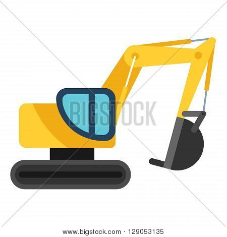 Yellow excavator. Yellow and black shovel Flat vector illustration isolated on white background
