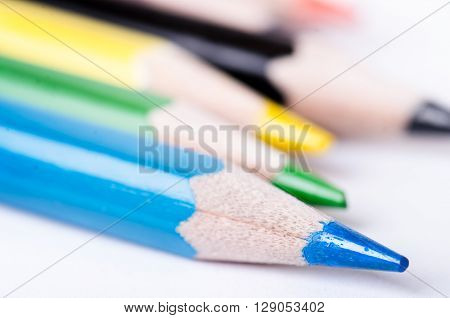 Colour pencil isolated on a white background. Lines of pencils. Education concept. Lots of asorted color pencils. Color palette.