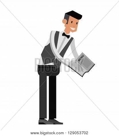 Vector detailed characters Young handsome waiter at restaurant isolated. Waitress image, Waitress isolated. Waiter isolated, Waiter image, Waiter concept, Waitress isolated on white background