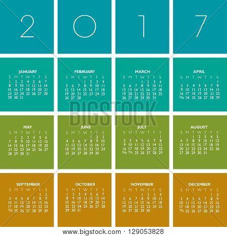 2017 Creative Colorful Calendar in multiple colors