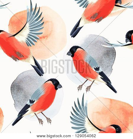 Flying and sitting bullfinches vector seamless background