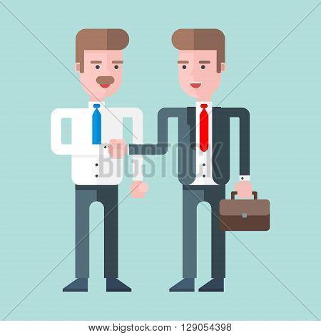 Two businessmen shaking hands. Flat vector illustration. Blue background