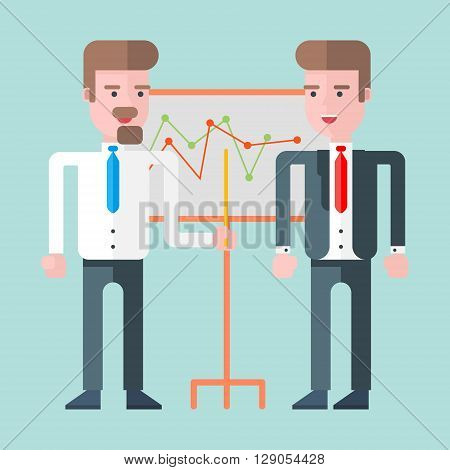 Two businessmen standing in front of whiteboard with graphs. Flat vector illustration. Lightblue background