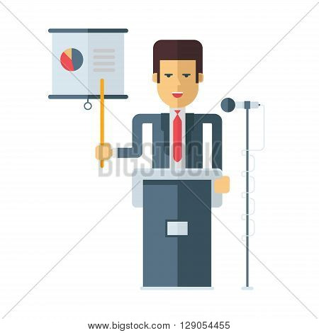 A businessman is standing at a podium with a microphone showing at a graph. Flat vector illustration isolated on white background