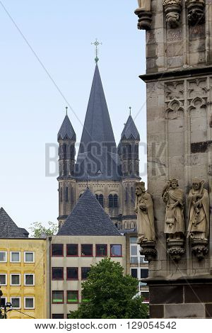 Cologne, Germany - May 16: This is view of St. Martin church from the Cologne Cathedral May 16, 2013 in Cologne, Germany.