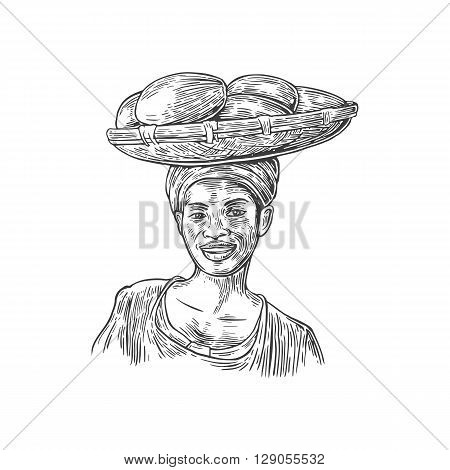 African woman carries a basket with baobab fruits on her head. Vector vintage engraved illustration isolated over white background