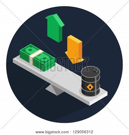 Isometric color vector illustration of oil price formation on simple swing. Scales swing with oil barrels and stacks of money. Concept of opposition on oil market.