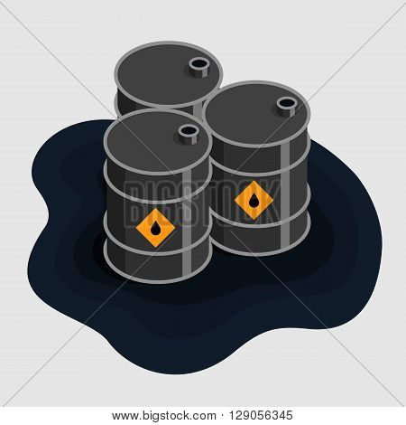 Oil fuel barrels isometric Icon Vector, dirty oil barrels in raw oil puddle, flat isometric oil barrels vector illustration