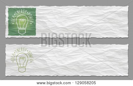 Set of two banners with crumpled paper and bulb icon