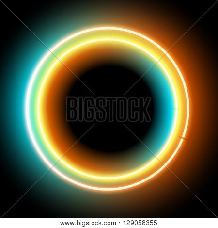 Neon circle. Neon colorful light. Vector electric frame. Vintage frame. Retro neon lamp. Space for text. Glowing neon background. Abstract electric background. Neon sign circle. Glowing electric frame